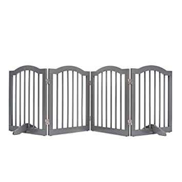 Unipaws Wooden Dog Gate With 2pcs Support Feet Freestanding Pet Gate For Doorway Stairs Decorative Indoor Dog Barrier With Arched Top Gray