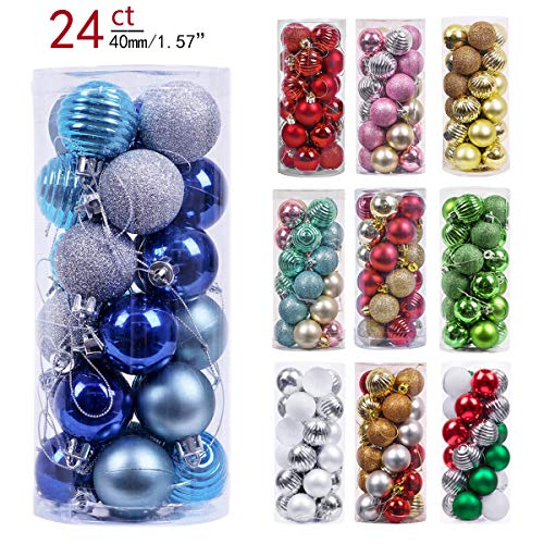 Valery Madelyn 24ct 40mm Winter Wishes Blue Silver Shatterproof Christmas Ball Ornaments Decoration,Themed with Tree Skirt(Not Included)