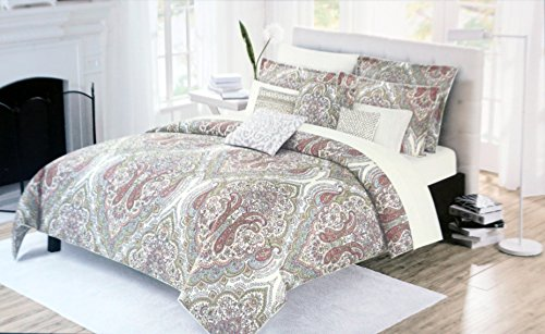 Nicole Miller Bedding 3 Piece Full / Queen Duvet Cover Set Boho Style Paisley Medallions Pattern in Shades of Rust Red Green Blue Yellow on Cream