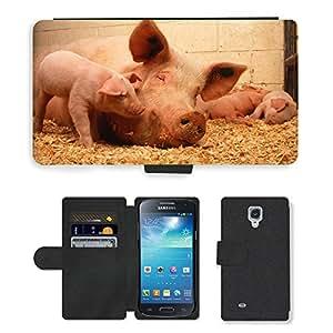 Super Stella Cell Phone Card Slot PU Leather Wallet Case // M00146153 Pigs Domestic Animals Fauna Pork // Samsung Galaxy S4 Mini i9190