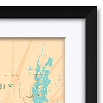 12 x 18 Adirondacks Vintage-Style Map Art Print Poster by Lakebound .