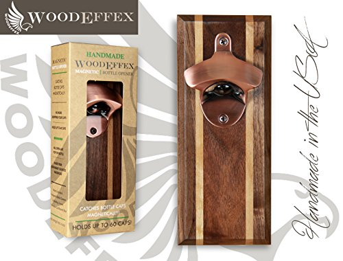 Bottle Opener Magnetic Cap Catcher - Walnut w/Alder Inlays with Copper Opener ()