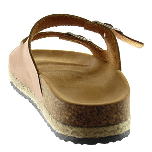 Coin Mode Chaussures forme De Liège Cordon 5 De Des Femmes Slip 3 De Boucle Plate Sandales Rose Clair on Mules Angkorly Cm 66AwrxB5q