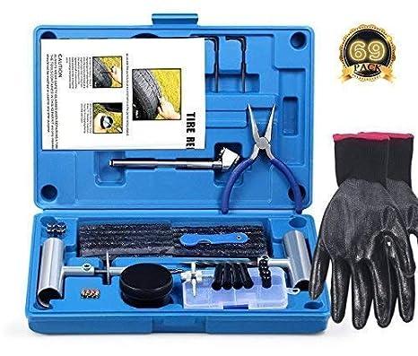FOCHI Kit de Reparación para Neumáticos Pesados, 69pcs Heavy Duty Kit de reparación de neumático