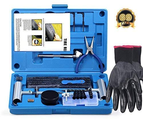 69pcs Heavy Duty Kit de reparaci/ón de neum/ático para Coche FOCHI Kit de Reparaci/ón para Neum/áticos Pesados Motocicleta Jeep cami/ón Tractor ATV