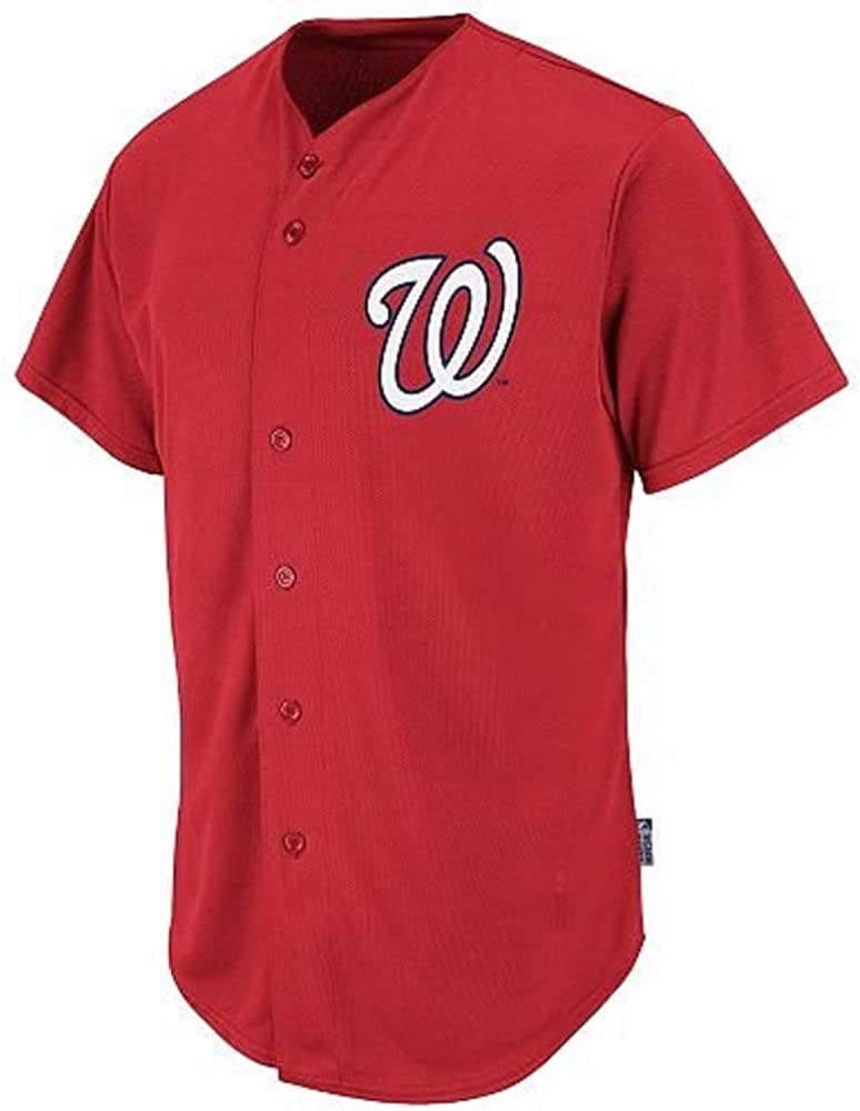 Blank Back Max 81% OFF Adult Oakland Mall Medium Washington Nationals Red Full-Button