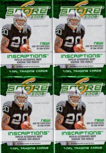 2008 Score Football (4 (Four) Packs - 2008 Score Football Hobby Packs (7 Cards per Pack) - Possible Matt Ryan, Matt Forte, Chris Johnson, Joe Flacco, DeSean Jackson, Darren McFadden, and/or Felix Jones Rookie Cards!!!!)