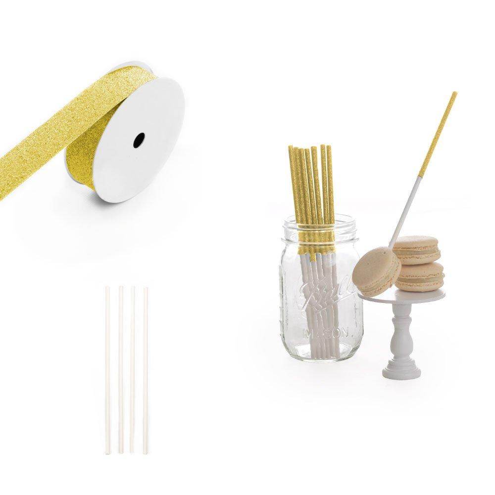 Dress My Cupcake 8-Inch Glitter Cakepop and Dessert Stick DIY Kits, Gold Glitter, 500-Pack