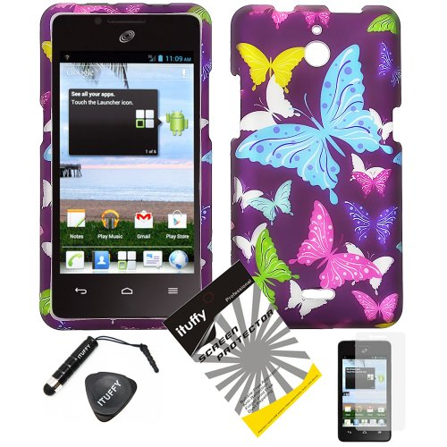 4 items Combo: ITUFFY LCD Screen Protector Film + Mini Stylus Pen + Case Opener + Purple Pink Green Yellow Blue Multi Color Butterfly Design Rubberized Snap on Hard Shell Cover Faceplate Skin Phone Case for Huawei VALIANT Y301 / Straight Talk Huawei Ascend Plus H881C]()