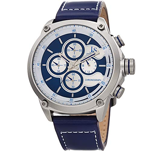 (Joshua & Sons Men's Chronograph Sports Watch - Genuine Blue Leather Strap, Contrast Stitch, Multifunction 60 and 30 Second Register - JX133BU)