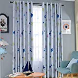 SearchI Star Nursery Window Blackout Curtains for Kid's Cute Cartoon Darkening Thermal Insulated Grommet Top Window Panel for Boys Room 1 Panel (42W x 84L Inch, Blue)
