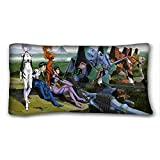 Soft Pillow Case Cover ( Anime Neon Genesis Evangelion ) Popular 20x36 inch One Side Pizza Rectangle Pillowcase suitable for King-bed PC-White-29157