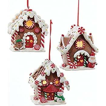kurt adler 1 set 3 assorted battery operated gingerbread led house clay dough christmas ornaments - Gingerbread Christmas Ornaments