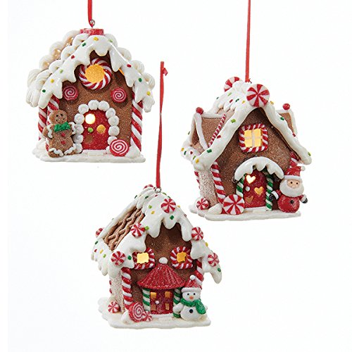 Clay Gingerbread - Kurt Adler 1 Set 3 Assorted Battery Operated Gingerbread LED House Clay Dough Christmas Ornaments