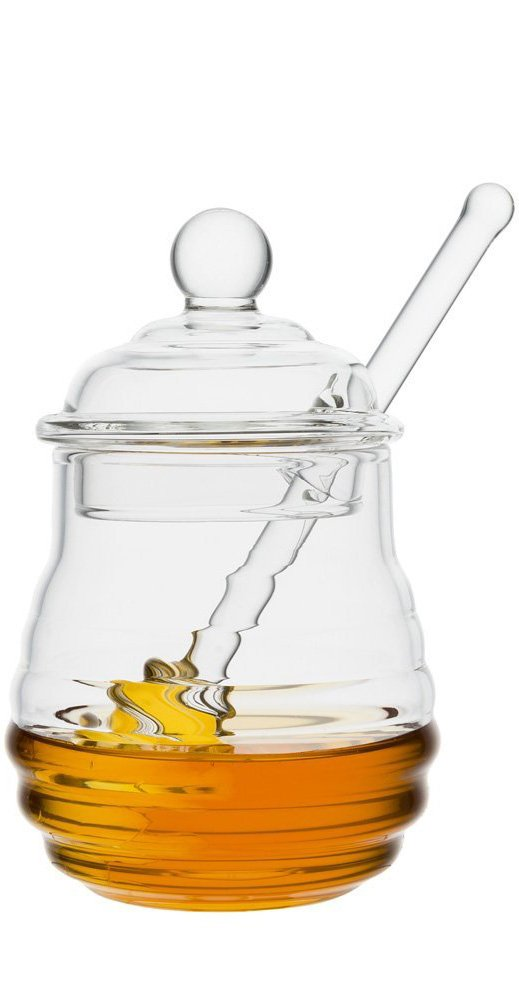 Mkono Glass Honey Jar with Dipper, Clear, 9 Ounces 4335511692