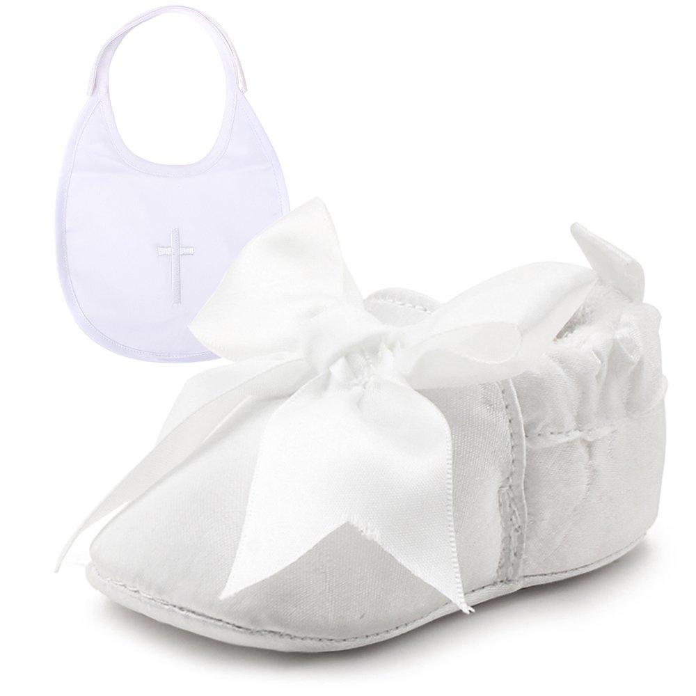 OOSAKU Baby Girl Christening Baptism Flower Lace Shoes Dance Ballerina Sneakers (0-6 Months, Shoes & Bib)