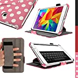 """iGadgitz Luxury """"Vintage Collection"""" Pink with White Polka Dot PU Leather Case Cover for Samsung Galaxy Tab 4 8.0"""" SM-T330 with Multi-Angle Viewing Stand + Hand Strap + Auto Sleep/Wake + Screen Protector"""