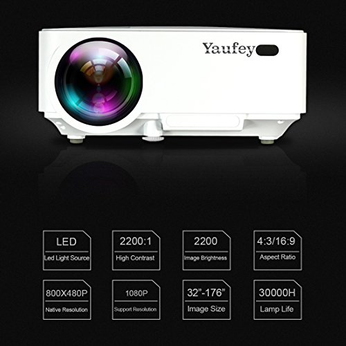 Laptop Projector, Yaufey Digital Video Projector Support 1080P for Home Cinema TV Laptop Game iPhone Android Smartphone with HDMI Cable (2018 Upgraded Version) by Yaufey (Image #3)