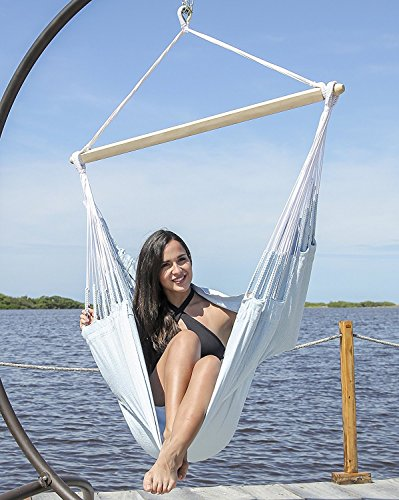 Large Colombian Hammock Chair Lounger - 48 inch - Natural Cotton Cloth (Powder Blue)