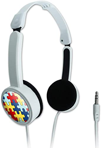 GRAPHICS MORE Autism Awareness Diversity Puzzle Pieces Novelty Travel Portable On-Ear Foldable Headphones