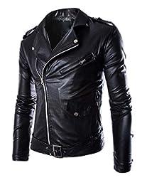 "Manhouse Men's Classic Leather ""Motorcycle"" Jacket"