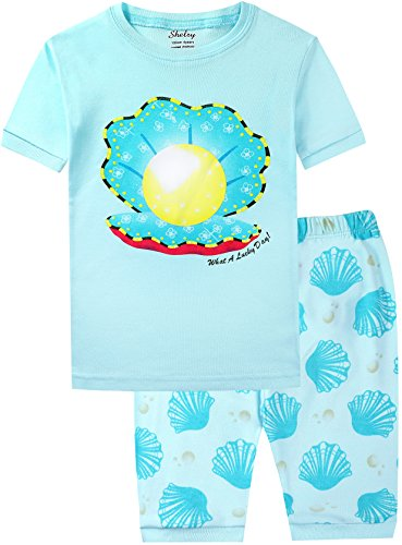 Pajamas for Girls Cotton Light Blue Shell Pearl Shorts Soft Sleepwear Set Size 4