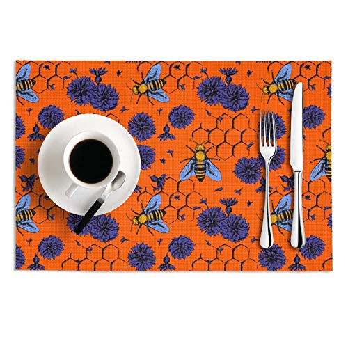 KHUZII Bees and Blue Flowers Table Mats Stain Resistant Decorationfor Kitchen PVC Set of 2 -