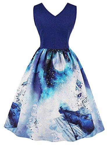 Women's Blue Vintage Christmas Dress Killreal V Neck violin Swing Cocktail Sleeveless ZdHSSBxqw