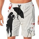 Haixia Men Funny Board Short Wedding Decorations Couple in Love Umbrella Red He