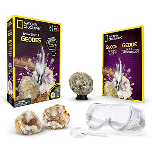 (NATIONAL GEOGRAPHIC Break Open 2 Geodes Science Kit – Includes Goggles, Detailed Learning Guide and Display Stand - Great STEM Science gift for Mineralogy and Geology enthusiasts of any)
