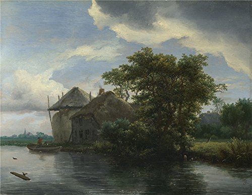 Oil Painting 'Jacob Van Ruisdael A Cottage And A Hayrick By A River', 18 x 23 inch / 46 x 59 cm , on High Definition HD canvas prints is for Gifts And Game Room, Kids Room And Study Room Decoration