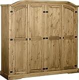 sec Corona 4 Door Wardrobe in Distressed Waxed Pine