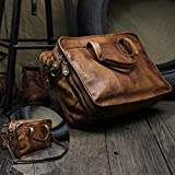Handmade Vegetable Tanned Leather Mens Messenger Bag, Briefcase Shoulder Bag, Satchel Bag