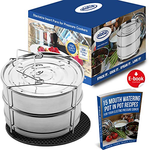 Alotia Stackable Insert Pans for Pressure Cooker or Instant