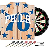 Trademark Gameroom NBA7010-PH2 NBA Dart Cabinet Set with Darts & Board - Fade - Philadelphia 76Ers