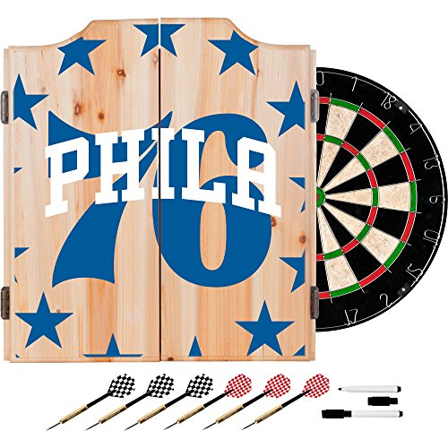 Trademark Gameroom NBA7010-PH2 NBA Dart Cabinet Set with Darts & Board - Fade - Philadelphia 76Ers by Trademark Global