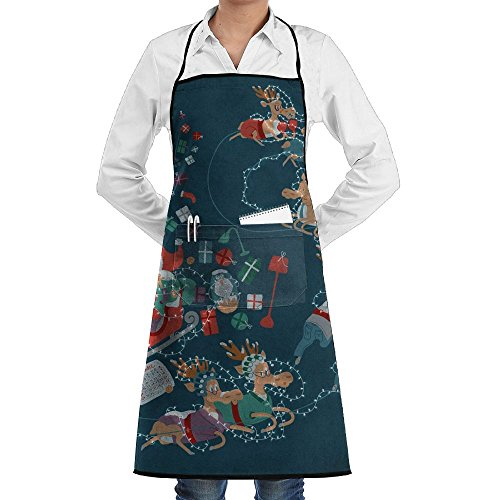 - SWT Home Christmas Wallpaper Adjustable Kitchen Apron With Pocket For Men & Women, Professional Chef Bib Apron For Cooking, Baking, Crafting, Gardening And BBQ