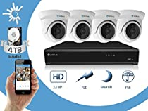 Camius 3MP PoE Security Camera System: 4TB 4K 8-Channel PoE NVR, 4-Pack 3MP IP Camera, compatible with PC & Mac