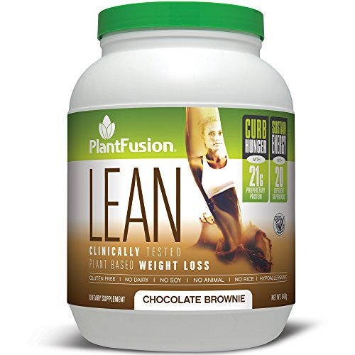 PlantFusion Lean, Clinically Tested Weight Loss Protein Powder, Chocolate Brownie, No Soy or Rice, 21g Protein, 20 servings, 29.6oz Tub