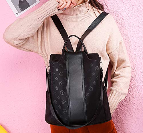 Luxury Backpack Purse PU Leather Anti-theft Casual Shoulder Bag Waterproof Bookbag for Girl Women(Flower)