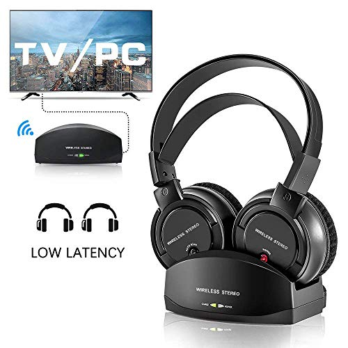 Wireless Headphones for TV with Charging Dock,Over The Ear Stereo Headset with RF Transmitter,Adjustable,Lightweight,Cordless Design for Gaming PC,iPhone Ipad 25hr ()