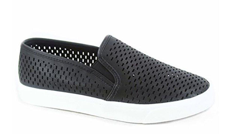 MVE Shoes Women's Perforated Slip-On Fashion Sneaker, Black nbpu Size 9