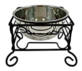Large 10-Inch Black Wrought Iron Stand with Single Stainless Steel Feeder Bowl …