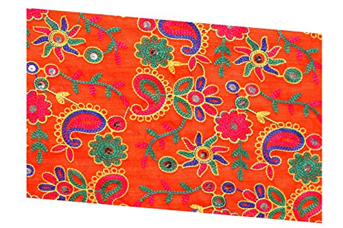 Handicraft-Palace Faux Silk Dupion Embroidery Fabric Embroidered Drapery Home Decor Clothing 44 inch Wide Indian Silk Fabric (Orange, 10 Yard)