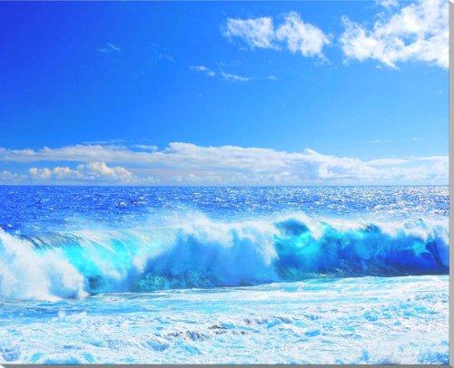沖縄 北大東島の海 風景写真パネル。 青い空に白い雲と波、エメラルドグリーンの海の美しい爽やかな風景です。 91×72.7cm KTD-023-F30