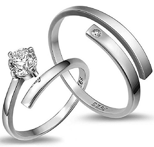 Access-O-Risingg 925 Silver Plated Solitaire Couple Ring For Men & Women (Adjustable Size) [Rg038]