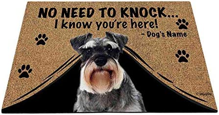 BAGEYOU Personalized Dog s Name Outdoor Doormat with My Love Dog Schnauzer Welcome Floor Mat Not Need to Knock I Know You re Here 35.4 x 23.6