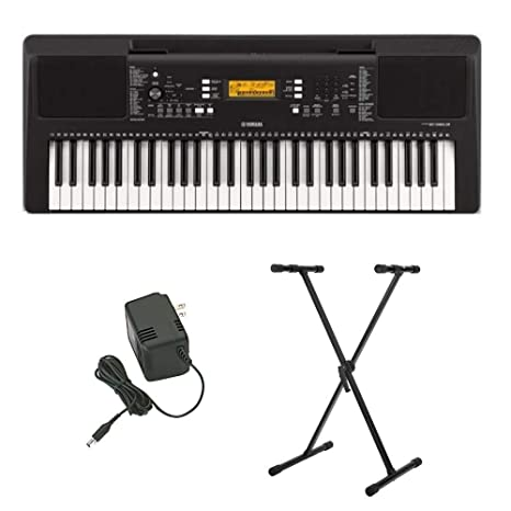 Yamaha Psr E363 61 Key Portable Keyboard With Power Supply And Knox Gear Adjustable Keyboard Stand Bundle