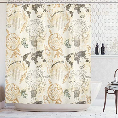 Ambesonne Wanderlust Decor Shower Curtain, Pattern with Vintage Globe World Map Airship Rope Knots Ribbon Retro Illustration, Fabric Bathroom Set with Hooks, 69W X 70L Inches, Beige Green ()
