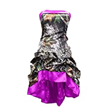 Snowskite Womens Strapless Short High Low Camo Cocktail Party Prom Dress